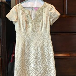 Lilly Pulitzer gold and white dress